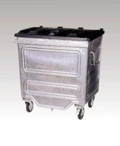 Silver wheelie bin
