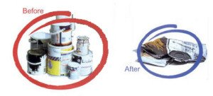 Tins before and after being crushed
